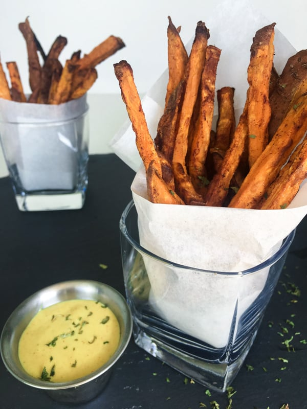Styled sweet potato fries and honey mustard