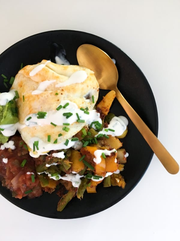 plated breakfast hash