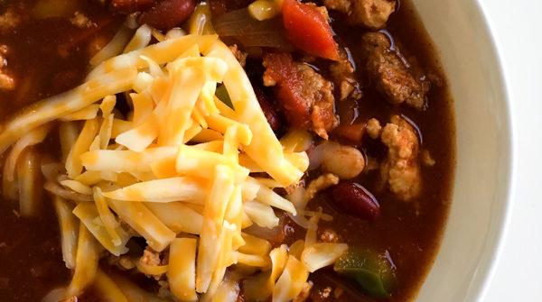 Chili in white bowl