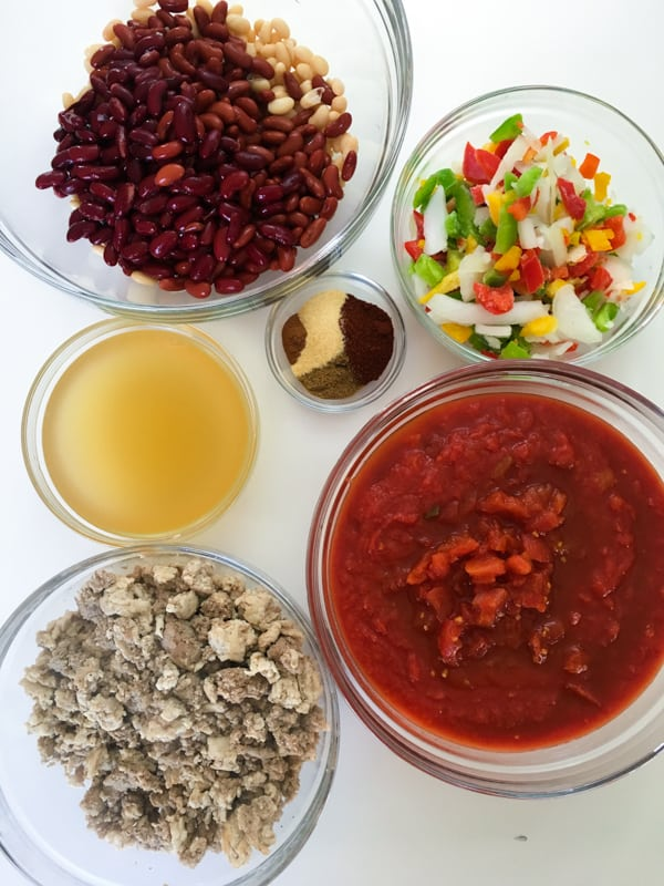chili ingredients in bowl
